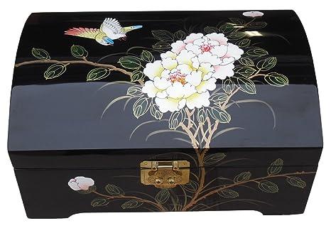 Mobili Cinesi Laccati Neri : Cinese orientale mobili regali nero laccato portagioie con uccello