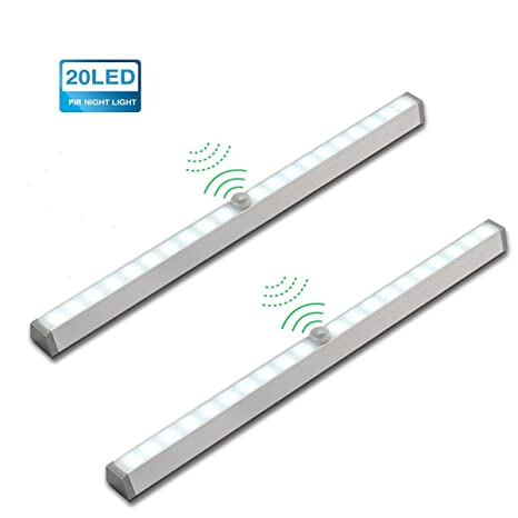 Lampara 2 pack LED del Armario, KINGSO 20 LEDs Barra de Luz Inal¨¢