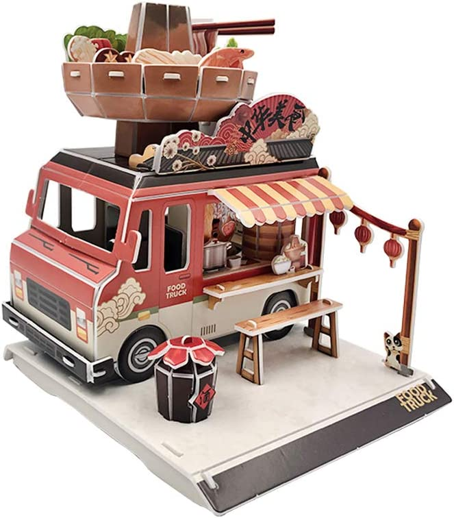 BAR AUTOTECH DIY 3D Food Catering Truck Jigsaw Puzzle Up with Paper Craft Kits with Installation - Decoration for Boys, Girls, Party Supplies and School Classroom Rewards (78 Pieces, Hot Pot)