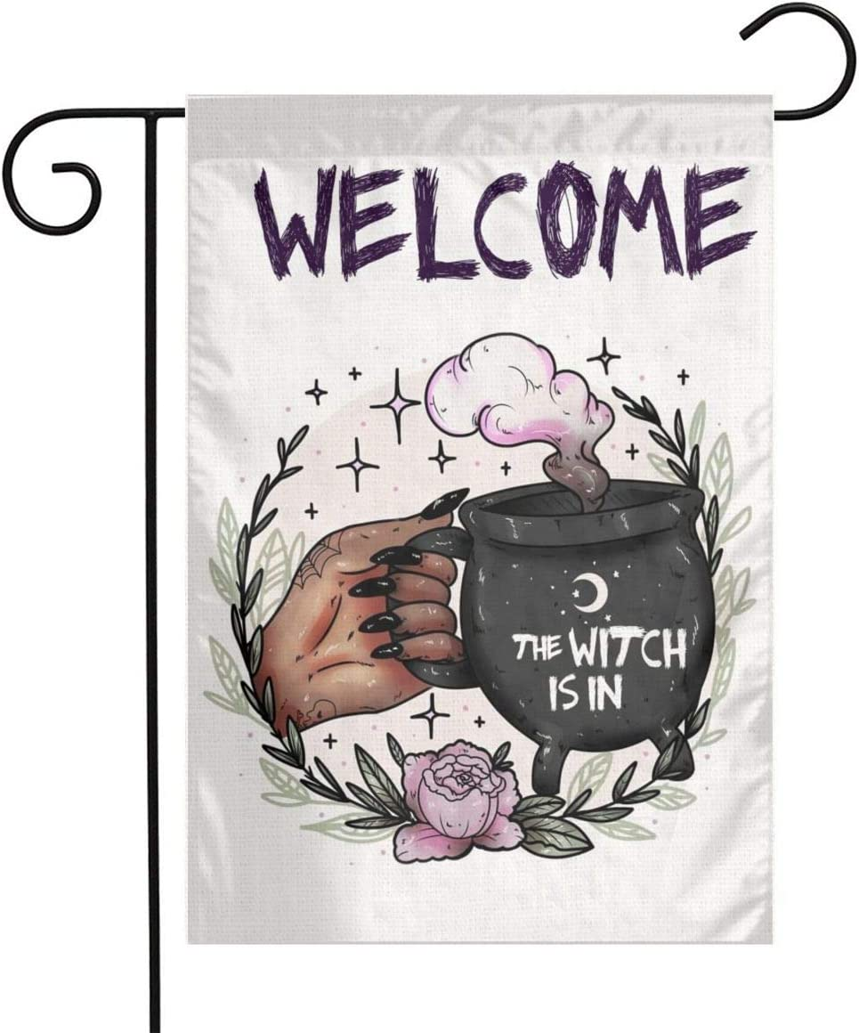 Halloween The Witch Is In Cauldron Brew Wicca Wiccan Burlap Garden Porch Lawn Flag Farmhouse Decorations Mailbox Decor Welcome Sign 12x18 Inch Small Mini Size Double Sided Flax Nylon Linen Fabric