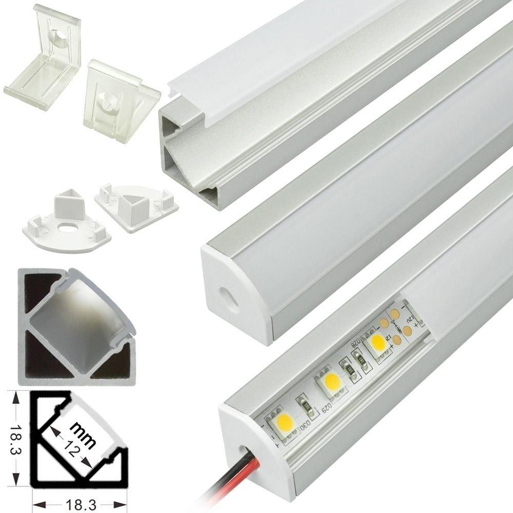 5pack 4ft corner mount v shape aluminum profile channel w diffuser