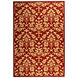 """Safavieh Courtyard Collection CY3416-3707 Red and Natural Indoor/ Outdoor Area Rug, 6 feet 7 inches by 9 feet 6 inches (6'7"""" x 9'6"""")"""
