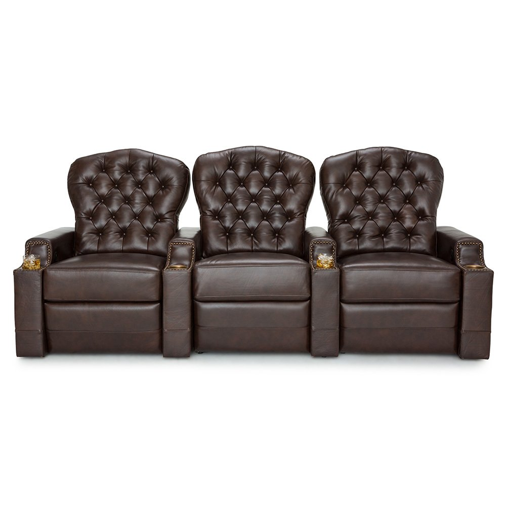 Seatcraft Imperial Leather Home Theater Seating Power Recline - (Row of 3, Brown) by Seatcraft