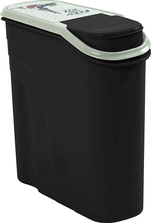 Rotho Filo - Recipiente para Comida de Animales de 6 L, plástico (PP), Color Gris Antracita con diseño Pet Feed with Joy, 6 litros (28 x 12 x 28 cm)