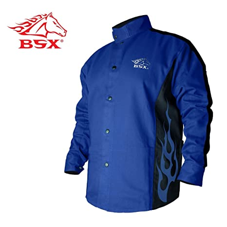f76de0166071 BSX Flame-Resistant Welding Jacket - Blue with Blue Flames