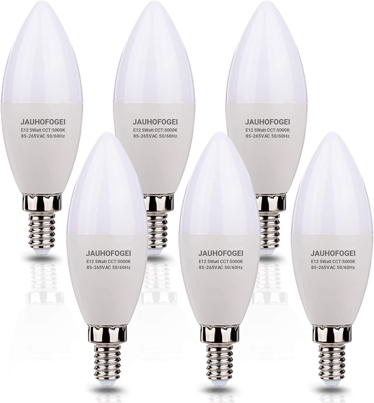 JAUHOFOGEI E12 LED Candelabra Light Bulbs, 40W Incandescent Equivalent Ceiling Fan Bulb Chandelier Bulbs, Daylight White 5000K and No Flickering, Non-dimmable Candle Replacement, 5W 460lm, Pack of 6