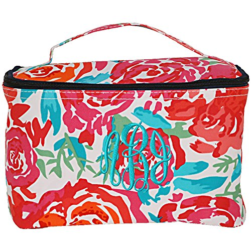 (Personalized Floral Meadow Large Cosmetic Makeup Travel Bags)