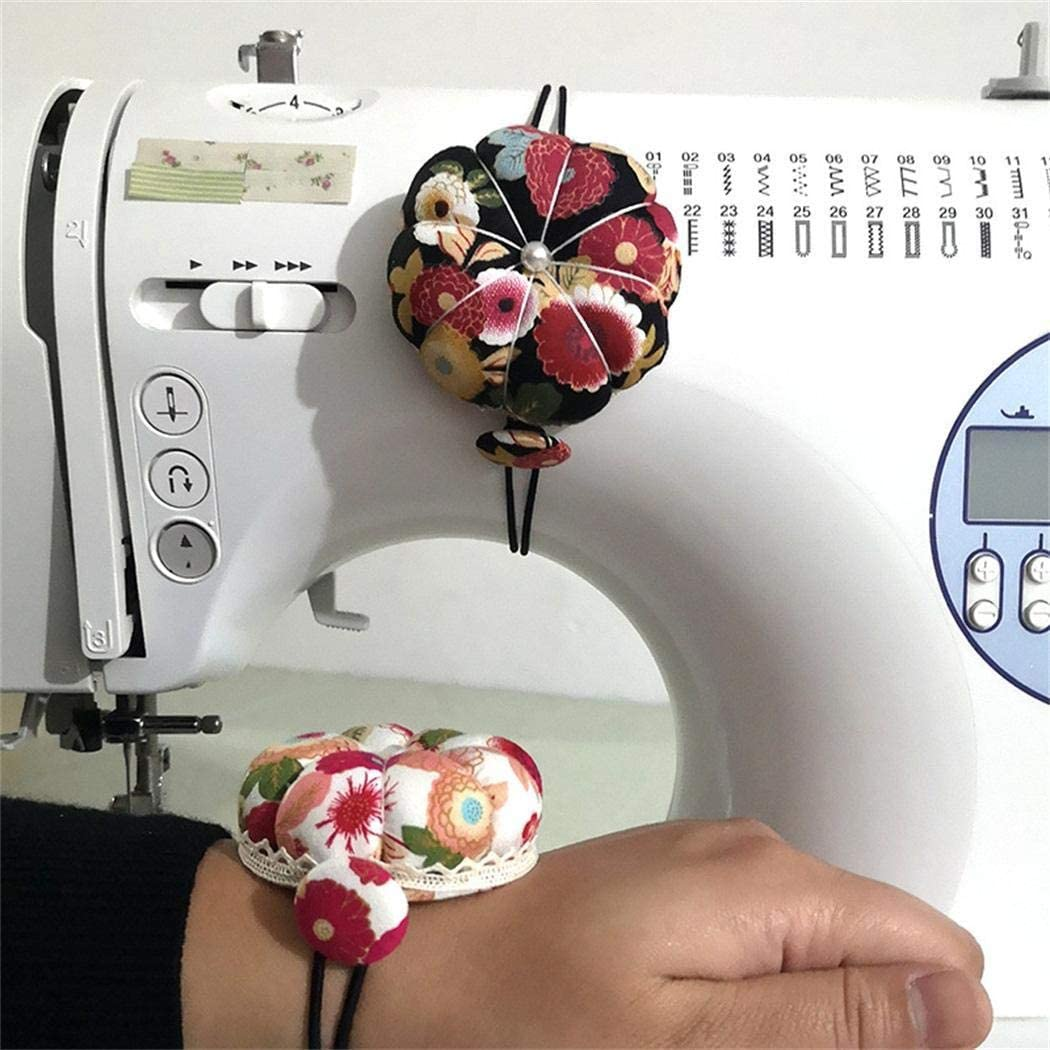 Eubell DIY Handcraft Tool for Cross Stitch Sewing Home Sewing Tools Ball Shaped Needle Pin Cushion with Elastic Wrist Belt