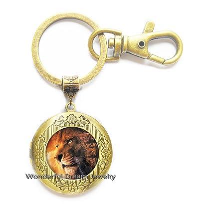 Llavero de león, medallón de león, joyería de león, medallón ...