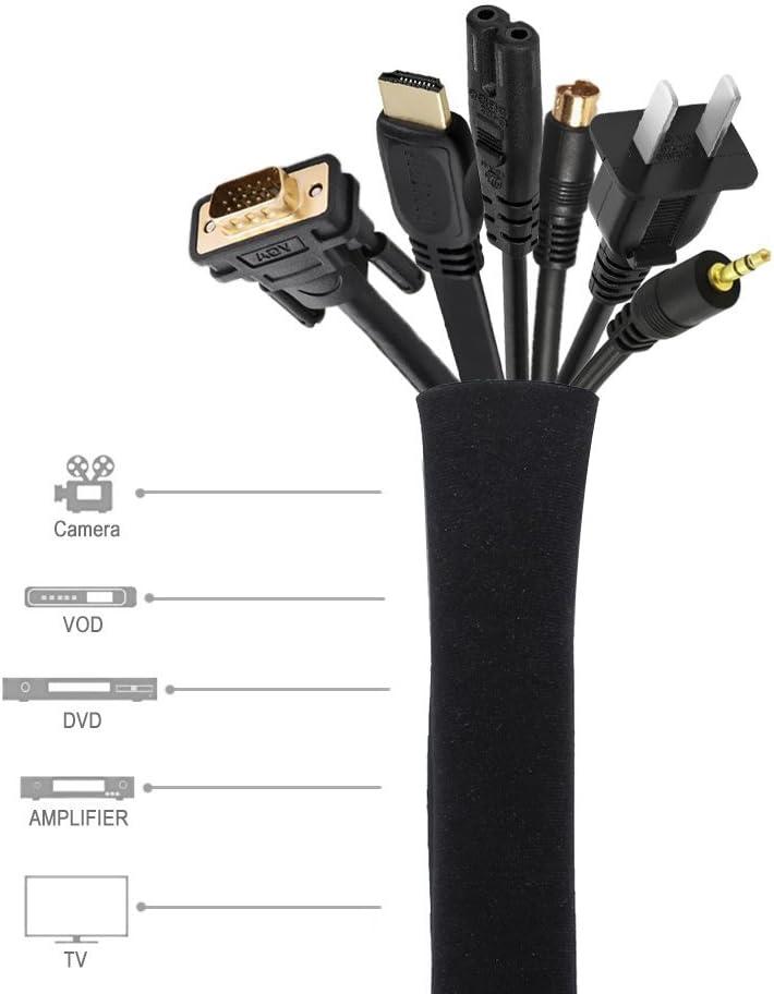 Weehey Cable Concealer Gestion Manchon Fil Organisateur pour TV Ordinateur R/éfrig/érateur N/éopr/ène Cordon Couverture C/âble Hider Protecteur Zipper Conception 50 cm