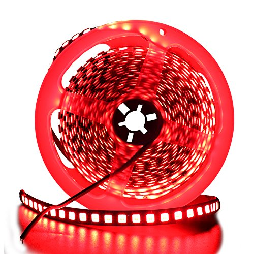 XUNATA 16.4ft LED Flexible Light Strip, 600 Units SMD 5054 LEDs(5050 Updated), 12V DC Non-waterproof Light Strips, LED ribbon, DIY Christmas Home Kitchen Indoor Party Decoration (Red)