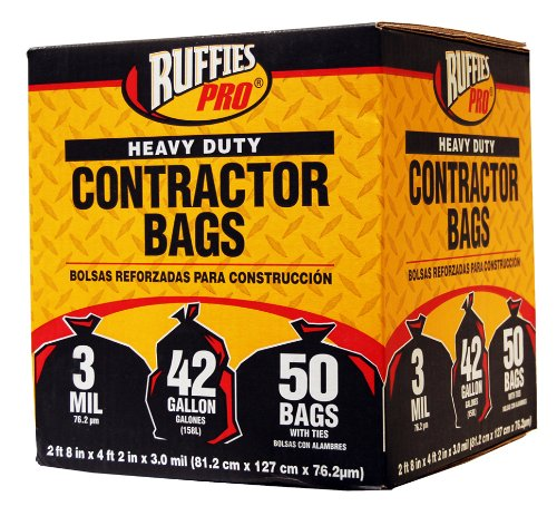 Ruffies CCB750 42-Gallon Heavy Duty Contractor Clean Up Bags