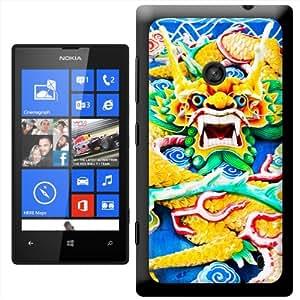 Fancy A Snuggle 'absorbato de dragón chino en amarillo y verde' carcasa Rígida para Nokia Lumia 520