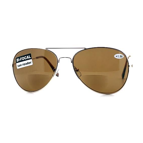 3510dd96fec Bifocal Magnification Lens Sunglasses Unisex Classic Aviator Sun Reader Gold