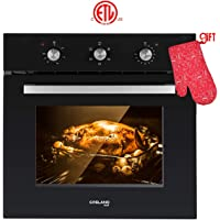 "Wall Oven, Gasland chef ES606MB 24"" Built-in Single Wall Oven, 6 Cooking Function, Full American Black Glass Electric Wall Oven With Cooling Down Fan, 3 Layer Glass ETL Safety Certified Easy To Clean"
