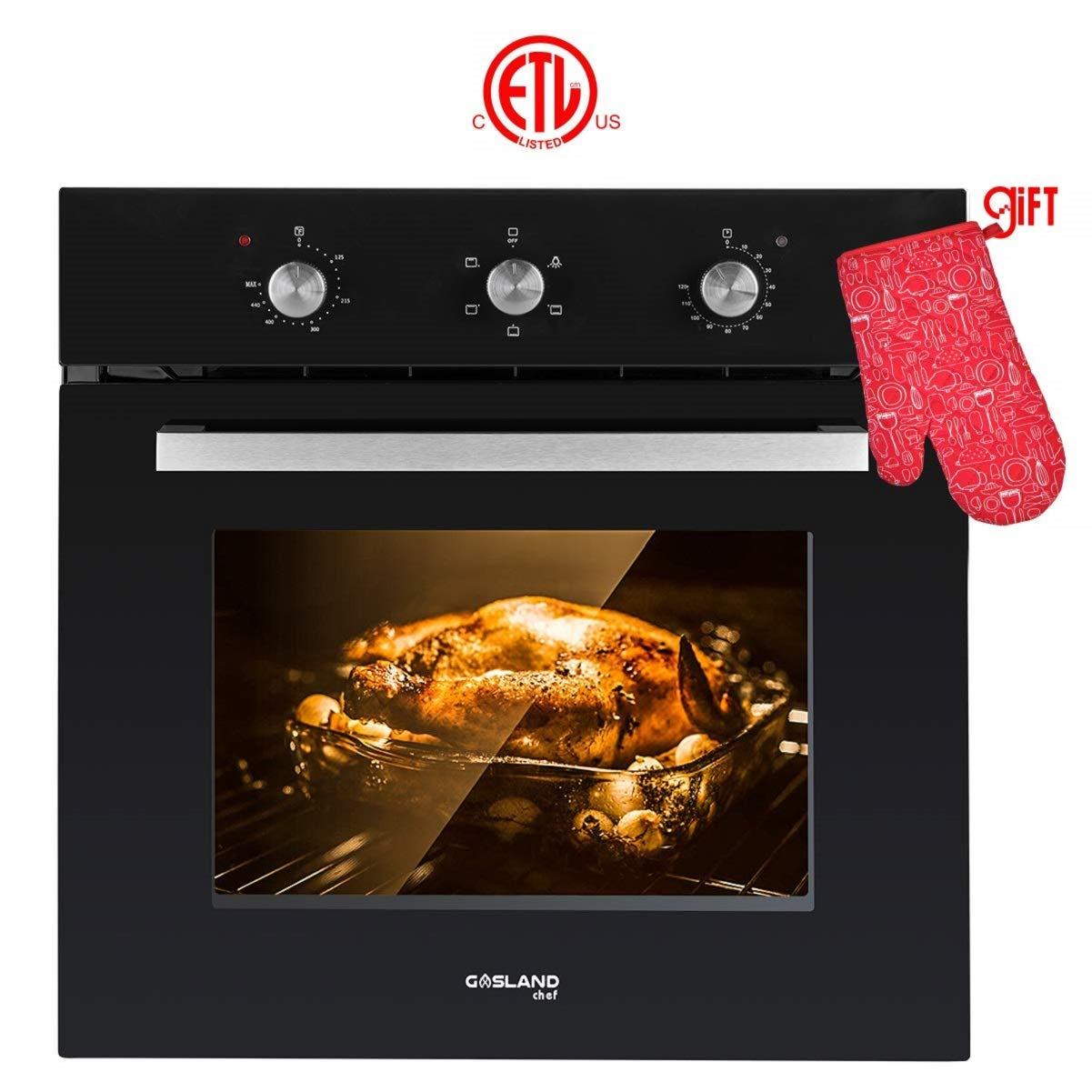"Single Wall Oven, GASLAND Chef ES606MB 24"" Built-in Electric Wall Oven, 6 Cooking Function, Black Glass Mechanical Electric Wall Oven with Cooling Down Fan, 3 Layer Glass, ETL Safety Certified"