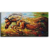 baccow - 2448'' Horse Oil Painting on Canvas Stallion Palette Knife original Texture Art Animal Picture Wall Art Ready to Hang For Home Decor