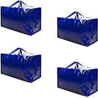 VENO Thick Over-sized Organizer Storage Bag with Strong Handles and Zippers for Travelling, College Carrying, Moving, Camping, Christmas Decorations Storage, Made of Recycled Material (4 Packs)