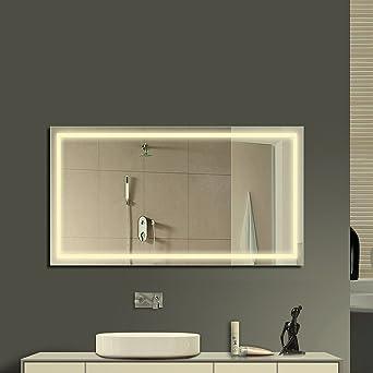 Anten® Spiegel mit lampe led Größe 800x600mm warmweiß 4000k Design ...