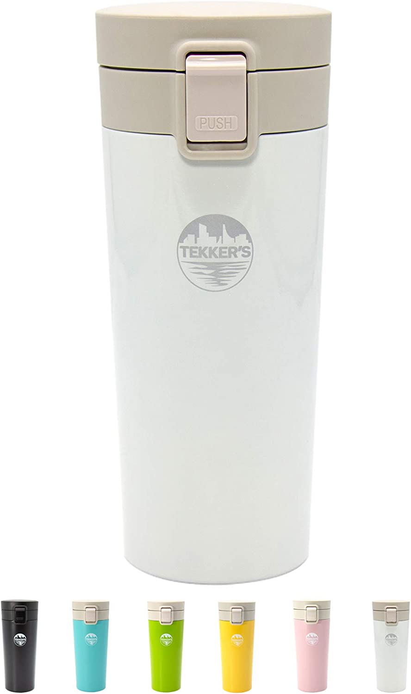 TEKKER'S Insulated Coffee Mug Stainless Steel Tumbler 14 oz On The Go Coffee Travel Mug Vacuum Cup Tea Flask White