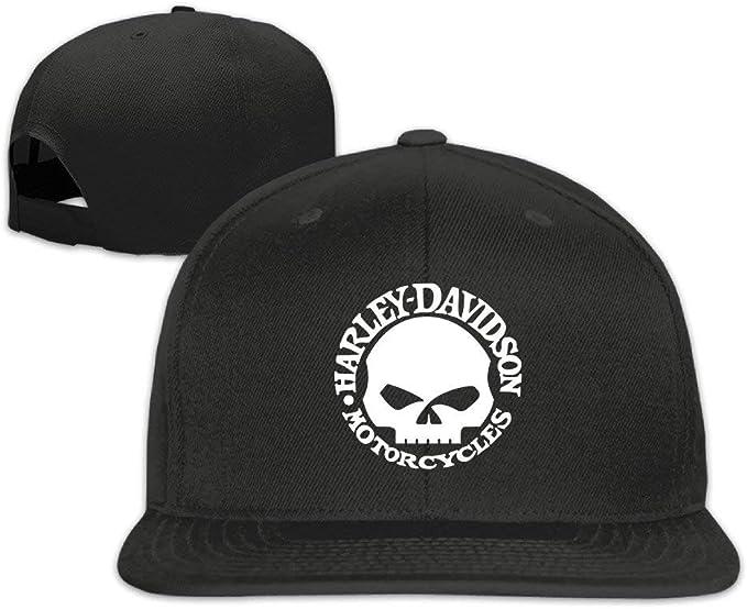 Harley Davidson Skull Boy Girl Adjustable Flat Trucker Baseball Cap Black