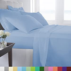 Woven Trends Hotel Luxury Bed Sheets Set - 1800 Series Supreme Collection, Extra Deep Pockets Queen Sheets, Wrinkle Fade Stain Resistant, Softest Sheets (Queen, Light Blue)