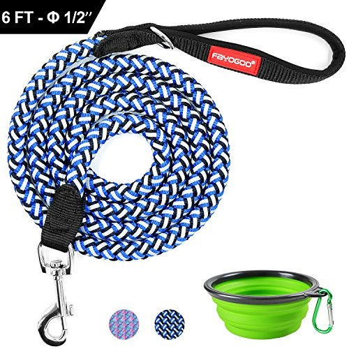 "Nylon Reflective Leash (FAYOGOO Pet Dog Leash, Nylon Rope Braided Reflective Dog Leash - 6 FT, Heavy Duty Big Dog Leash for Medium Large Puppy Walking, with Collapsible Bowel - Blue Black, 6 Foot, 1/2"" Diameter)"
