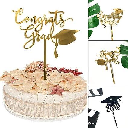1pcs Birthday Cake Topper Insert Card 2019 Graduation Acrylic Cake Decoration