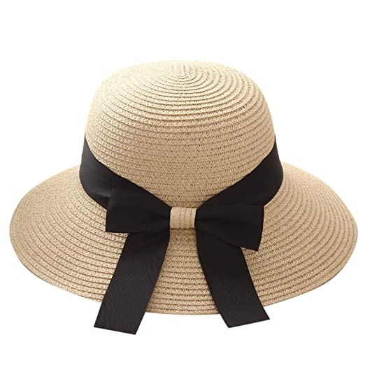 03d5f80a Benficial Women Lightweight Wide Brim Sun Hat Summer Beach Cap UPF50 UV  Packable Straw Hat for Travel Beige at Amazon Women's Clothing store: