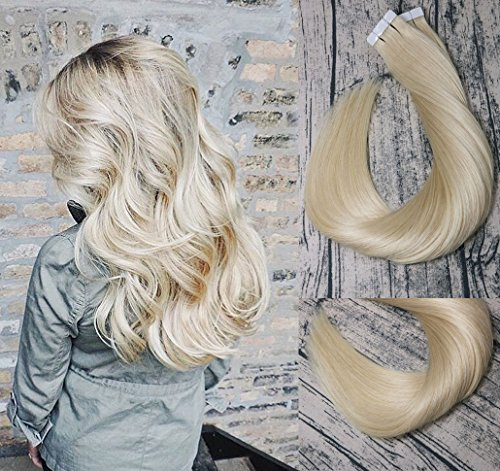 - Tape In Hair Extensions Human Hair 8A 20pcs 50g Per Set #613 Bleached Blonde Remy Hair Extensions Seamless Skin Weft Remy Silk Straight Hair Glue in Extensions Glue in Extensions Human Hair 14 Inch