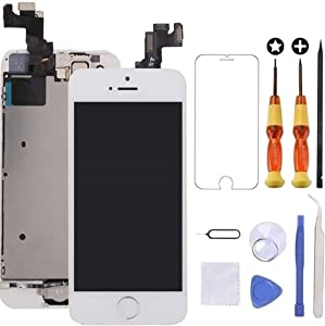 Brinonac for iPhone 5s/Se Screen Replacement White Touch Display LCD Digitizer Full Assembly with Front Camera,Proximity Sensor,Ear Speaker and Home Button Including Repair Tool and Screen Protector