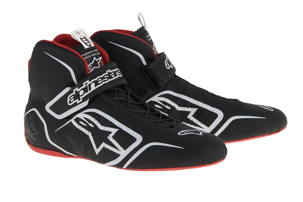 Alpinestars Tech 1-Z Driving Shoe - Size 10 - Black/White/Red - FIA/SFI Approved (2715115-123-10)