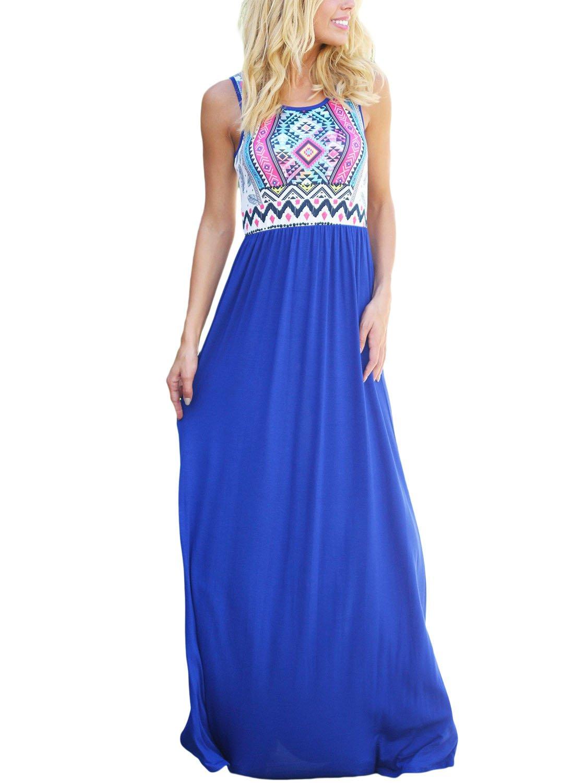 Asvivid Women's Summer Bohemian Retro Geometry Sleeveless Maxi Casual Dress Small Blue