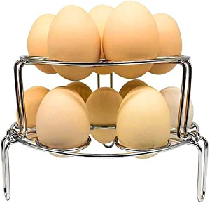 Stainless Steel Egg Steamer Rack for Instant Pot, Pressure Cooker, Boiling Pot. Stackable Steamer Trays 2 Pack Combo for Eggs and Food. Food Stainless Steamer Rack for Pot