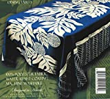 Kahale Living Hawaiian Tropical Fabric Tablecloth 60-inch By 60-inch (Blue Color)