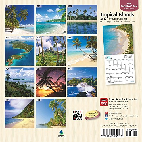 2017 tropical islands mini calendar 7 x 7 wall calendar. Black Bedroom Furniture Sets. Home Design Ideas