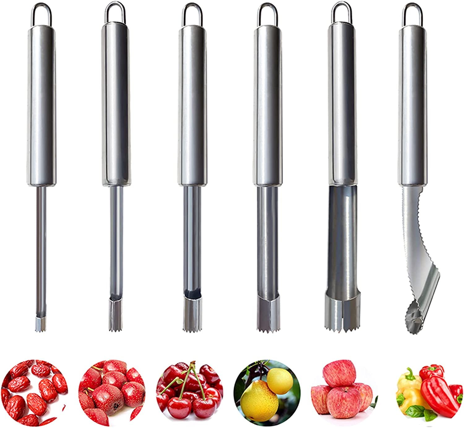 6 Pieces Corer and Pitter Fruit & Vegetable Multi-Function Stainless Corer and Pitter Remover Set for Apple, Pear, Cherry, Jujube, Red Dates, Berry, Chili