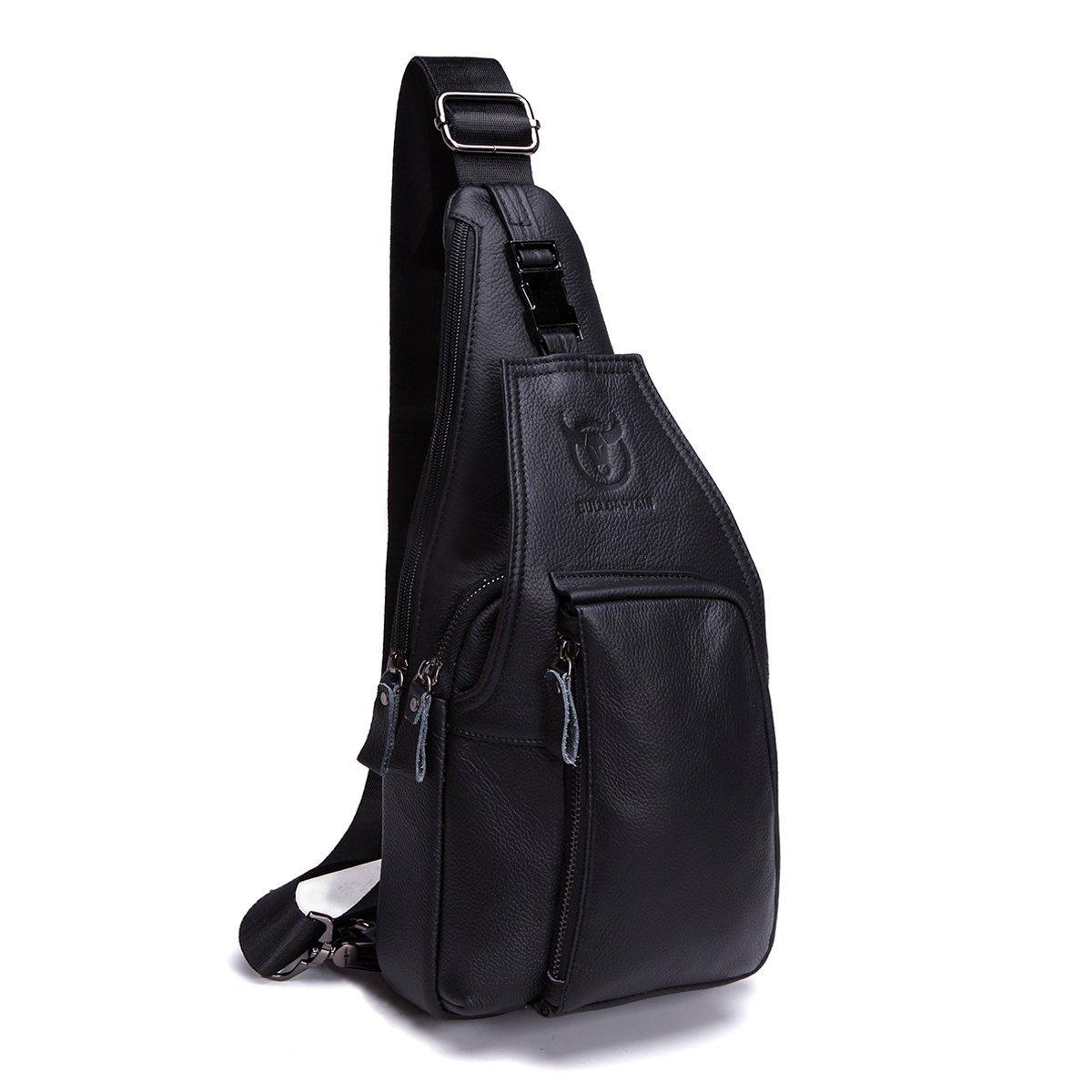 Men Sling Bags, Charminer Genuine Leather Crossbody Shoulder Chest Bag Business Casual Backpack Outdoor Travel Daypack black Besttoanywhere-CO. Ltd CHARMINERbesttoanywhereca13