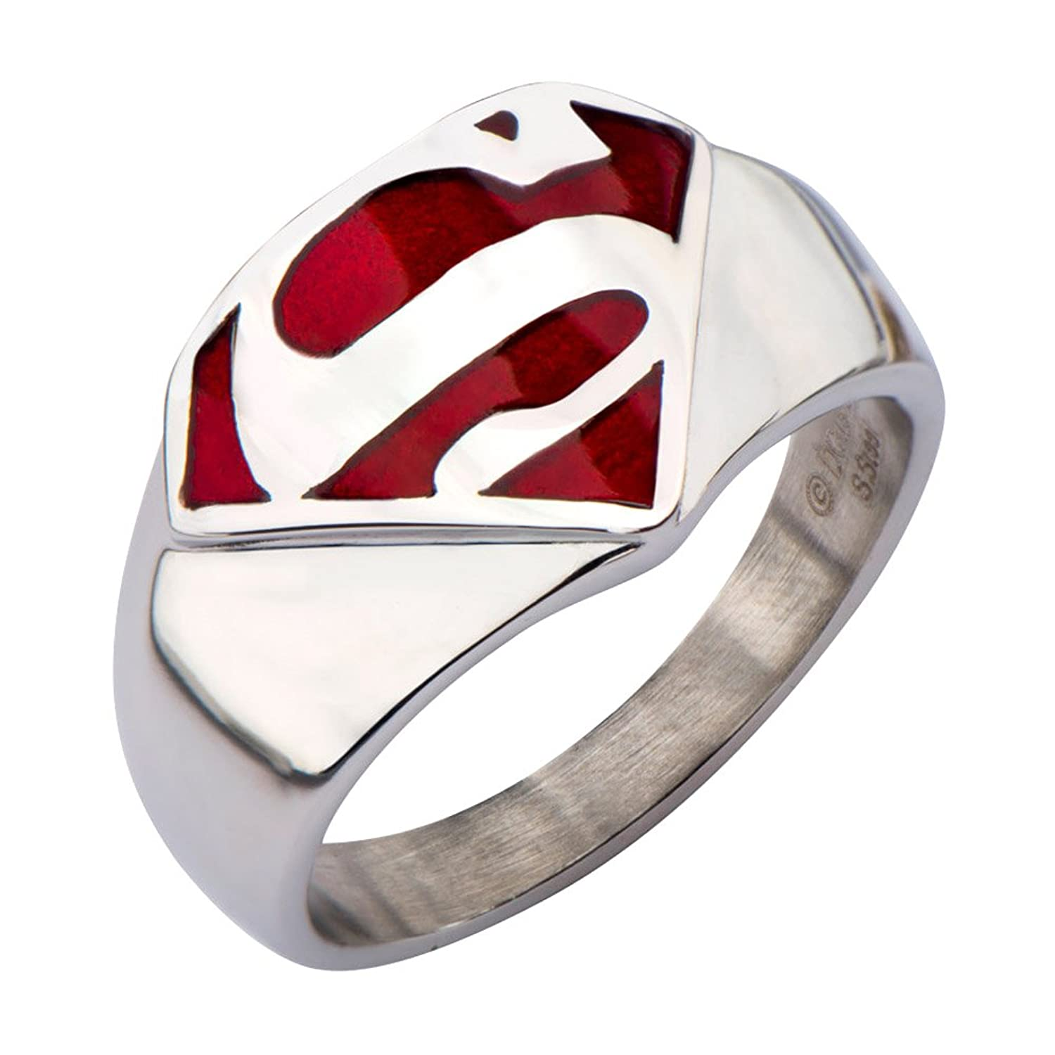 "Amazon DC ics Superman ""Man of Steel"" Stainless Steel Ring"