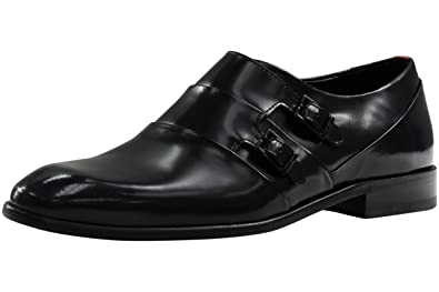 Men's Dressapp Black Embossed Leather Loafers Shoes Sz: 9