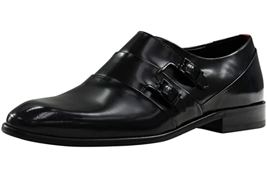 Men's Dressapp Double Monk Strap Black Leather Loafers Shoes Sz: 8.5