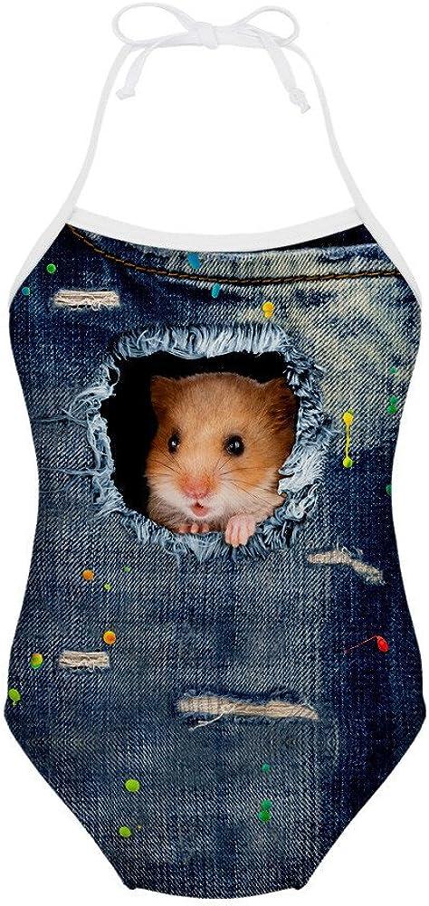 Hamster Katze M/ädchen Bademode Halter Badeanz/üge Badeanzug High Neck