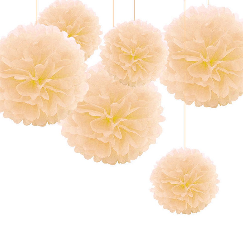 Taloyer 10pcs Popular Europe and America Decorative Paper Flower Ball Pom Hanging Paper Pom-poms for Wedding Party Decoration (Peach color)