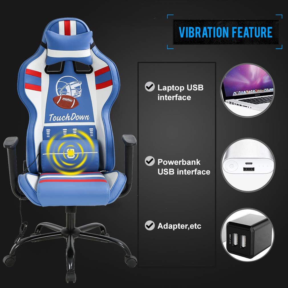 Blue Gaming Chair Massage Office Chair Racing Computer Chair with Lumbar Support Headrest Armrest Task Rolling Swivel Ergonomic PU Leather High Back Adjustable Desk Chair for Adults Gamer