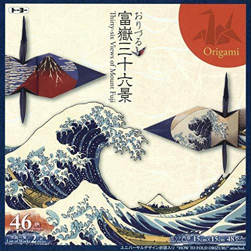Toyo Orizuru 36 Views of Mt. Fuji Printed Origami Paper 6×6 inches 46 designs (48 sheets) Japan Imported