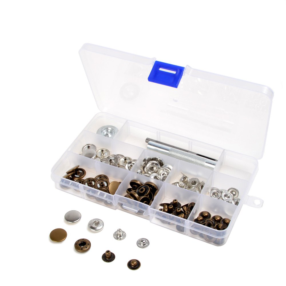 inBox 30 Sets Antique Brass Silver Metal Snap Fasteners Press Studs Kit w/Punch Tools For Clothing and Accessories - Press Studs for Adding Secure Closure to Jackets, Jeans, Bags, Straps and Other Sewing Projects - Popper for Clothes Repair (17mm) grandto