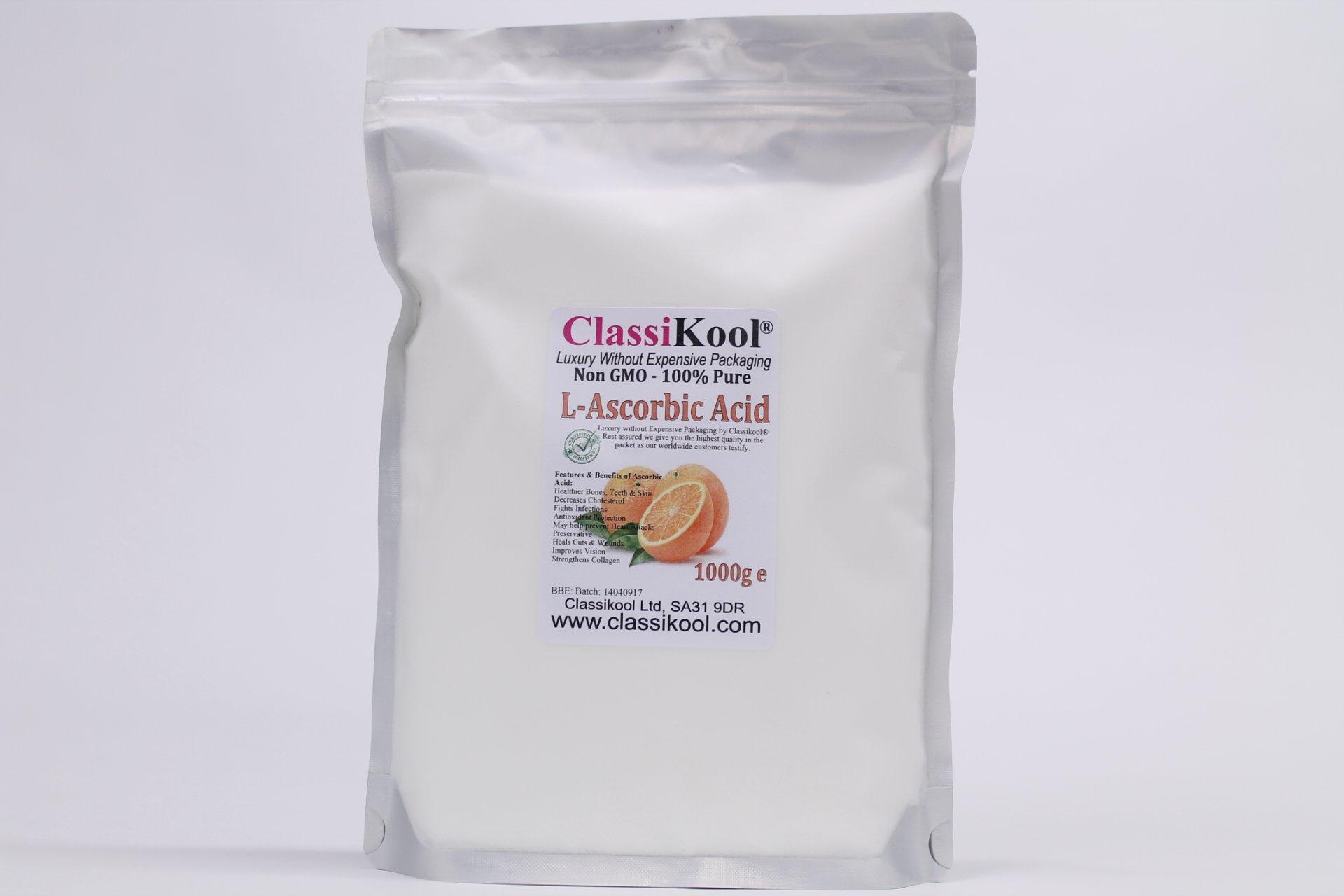 Classikool [1kg/ 1000g Edible Vitamin C Powder L Ascorbic Acid]: Highest Grade, Non GMO 100% Pure Pharma Grade [Free UK Post]