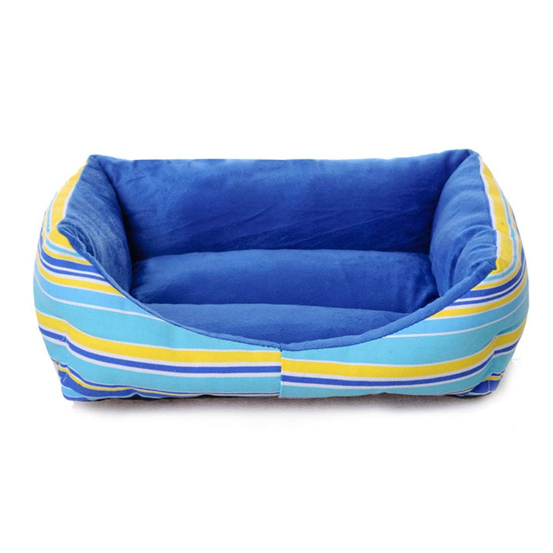 bluee M bluee M WENNEW Pet Nest Rainbow Stripy Kennel Cat Litter Moisture Pp Cotton Cat Litter Bed Kennel (color   bluee, Size   M)