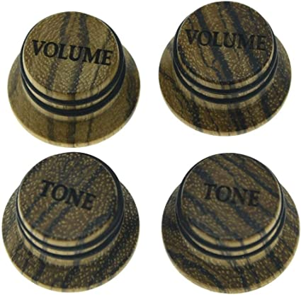 Zebrawood Wood Hat //Bell Strat® Style Guitar//Bass Knob for 6mm Split Shaft Pots