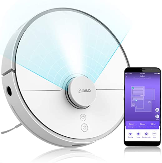 360 2000Pa Robot Vacuum Cleaner with Laser Navigation, Smart Sensor, Auto-Recharge and Resume, Washable Filter, Multi-Map Management, Off Limit App Control, Cleans Pet Hair, Carpets (White)